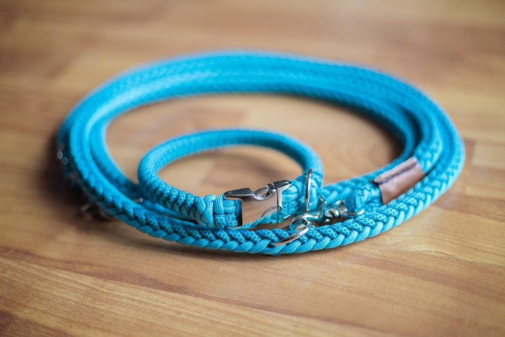 sedt aus halsband und leine in türkis